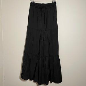 Black peasant maxi skirt